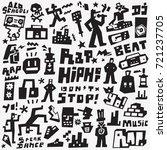 rap   hip hop   doodles set   Shutterstock .eps vector #721237705