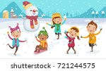 kids playing outdoors in winter.... | Shutterstock .eps vector #721244575
