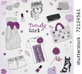 trendy violet girl set ... | Shutterstock .eps vector #72124561