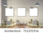 three blank square posters mock ... | Shutterstock . vector #721251916