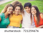 group of happy teenagers in the ... | Shutterstock . vector #721254676