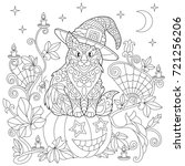 halloween coloring page. cat in ... | Shutterstock .eps vector #721256206