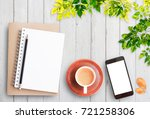 top view open notebook smart... | Shutterstock . vector #721258306