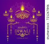 happy diwali festival card with ... | Shutterstock .eps vector #721267846