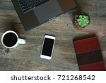 succulent in wood pot  coffee... | Shutterstock . vector #721268542