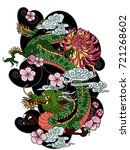 japanese old dragon tattoo... | Shutterstock .eps vector #721268602