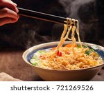 Closeup Of Hot Noodles With...