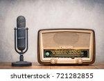 retro broadcast table radio... | Shutterstock . vector #721282855