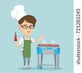caucasian woman in chef hat... | Shutterstock .eps vector #721283245