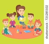 young caucasian kindergartener... | Shutterstock .eps vector #721285102