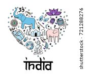 india in the form of heart.... | Shutterstock .eps vector #721288276