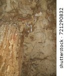 Small photo of detail of the beginning of the formation of stalagmite in calcareous rock, devil's cave, eldorado, SP, brazil