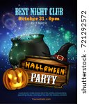 halloween party flyer with... | Shutterstock .eps vector #721292572
