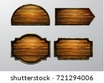 wooden signs  vector icon set | Shutterstock .eps vector #721294006