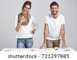 two young colleagues have...   Shutterstock . vector #721297885