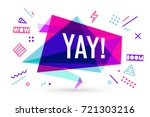 ribbon banner with text yay for ... | Shutterstock .eps vector #721303216