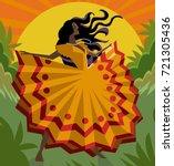 african long dress woman... | Shutterstock .eps vector #721305436