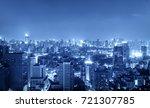 night cityscape in blue tone... | Shutterstock . vector #721307785
