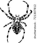 crawling spider drawn in ink by ... | Shutterstock .eps vector #721307812