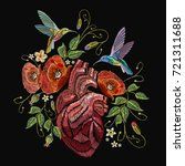 embroidery anatomical heart ... | Shutterstock .eps vector #721311688