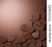 milk chocolate hearts with... | Shutterstock . vector #721313602