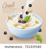yogurt bowl with milk splash  ... | Shutterstock .eps vector #721319182