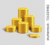 piles of shiny gold coins with... | Shutterstock .eps vector #721325482