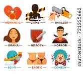 movie genre cinema vector icons ... | Shutterstock .eps vector #721325662