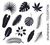 tropical palm leaves black...   Shutterstock .eps vector #721329736