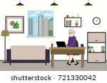 cartoon old female with laptop... | Shutterstock .eps vector #721330042
