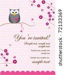 owl baby girl invitation card | Shutterstock .eps vector #72133369