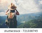 woman with binoculars and... | Shutterstock . vector #721338745