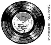 hand drawn sketch of vinyl... | Shutterstock . vector #721340452