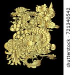 gold dragon roaring with peony...   Shutterstock .eps vector #721340542