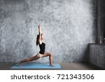 beautiful yoga woman practice... | Shutterstock . vector #721343506