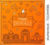 happy diwali greeting card in... | Shutterstock .eps vector #721344586