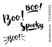 Boo And Spooky Lettering. Blac...