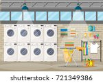 laundry room interior with... | Shutterstock .eps vector #721349386