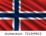 waving flag of norway on silk... | Shutterstock .eps vector #721349812