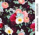 winter bouquets of peony ... | Shutterstock .eps vector #721351195