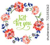 wildflower poppy flower wreath...   Shutterstock . vector #721353262