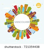 vancouver skyline with color... | Shutterstock . vector #721354438