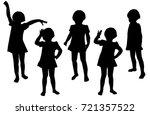 vector silhouettes of girls... | Shutterstock .eps vector #721357522
