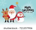 merry christmas with cute santa ... | Shutterstock .eps vector #721357906