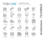 collection of construction thin ... | Shutterstock .eps vector #721358815