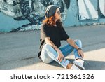 model wearing plain black t... | Shutterstock . vector #721361326