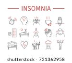 insomnia  symptoms. line icons... | Shutterstock .eps vector #721362958