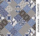 hand drawn seamless patchwork... | Shutterstock .eps vector #721364935