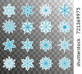 stickers snowflake icon set...   Shutterstock .eps vector #721369975