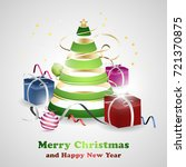 christmas and new year greeting ... | Shutterstock .eps vector #721370875